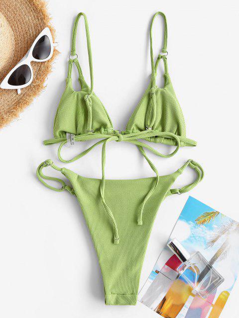 chic ZAFUL Ribbed Peek A Boo Skimpy String Bikini Swimwear - GREEN S Mobile