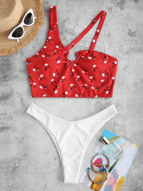 fashion ZAFUL Floral Print Asymmetrical Neck Padded Tankini Set - RED S Mobile
