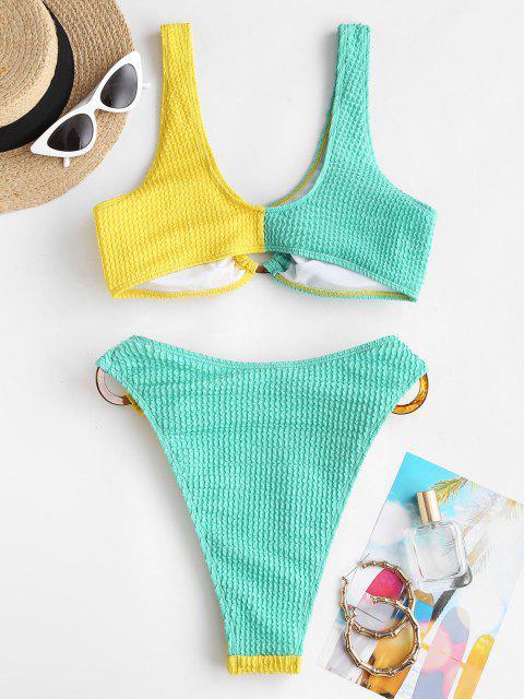 ZAFUL Costume da Bagno Bikini Imbottito Stringato con Bretelle - Multi Colori S Mobile