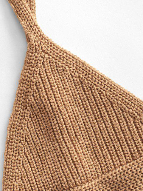 fancy Knit Triangular Cups Bralette Top - DEEP YELLOW S Mobile