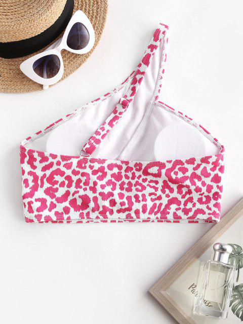 womens ZAFUL One Shoulder Leopard Print Cutout Swim Top - LIGHT PINK M Mobile