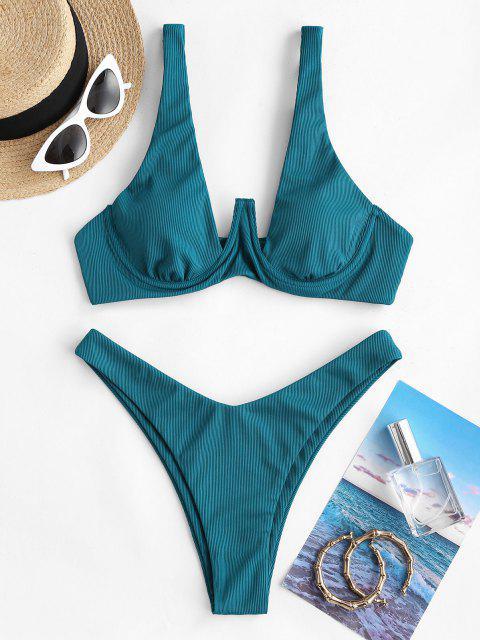 Costume da Bagno Bikini di ZAFUL a Costine a Forma di Fiori con Ferretto a Taglio Alto - Blu S Mobile