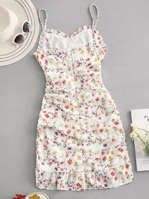 online Ditsy Print Ruffle Cinched Ruched Slinky Sundress - MULTI L Mobile