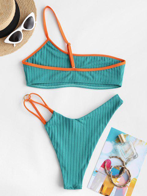 Costume da Bagno Bikini di ZAFUL a Costine a Contrasto con Monospalla - Verde S Mobile