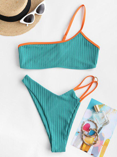 ZAFUL One Shoulder Contrast Binding Ribbed Brazilian Bikini Swimwear - أخضر S Mobile