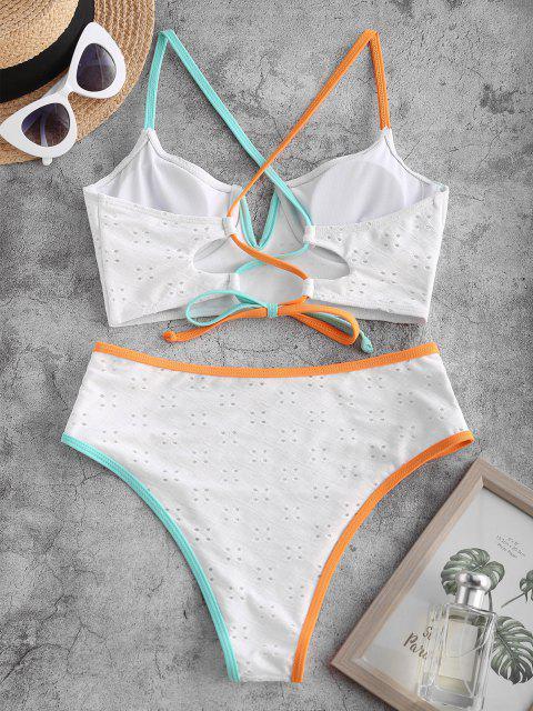 trendy ZAFUL Contrast Binding V-wired Lace-up Eyelet Tankini Swimwear - WHITE L Mobile