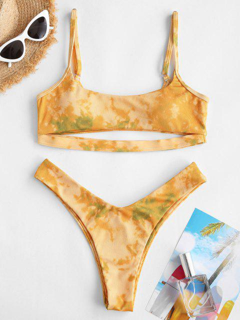 Costume da Bagno Bikini di Tie-Dye Marmorizzato con La Parte Superiore di ZAFUL - Giallo M Mobile