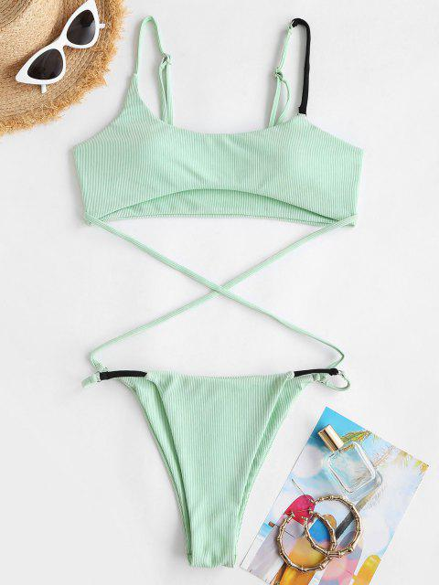 shop ZAFUL Contrast Straps Ribbed Underboob Crisscross Monokini Swimsuit - LIGHT GREEN S Mobile