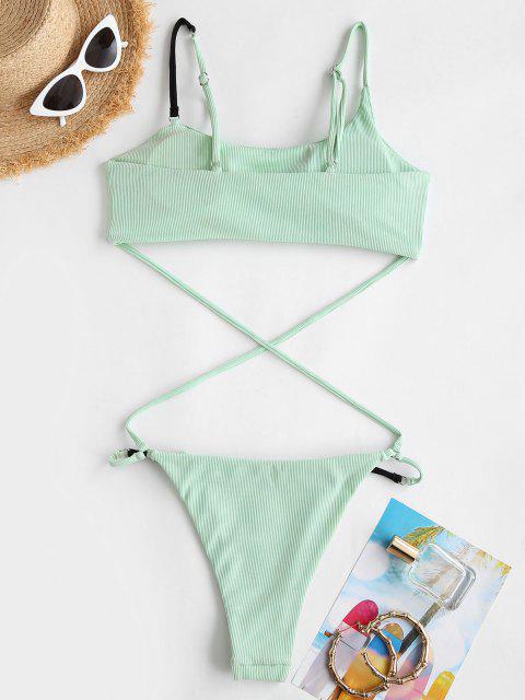 Costume Intero Incrociato a Costine Monokini a Contrasto di ZAFUL - Verde chiaro M Mobile