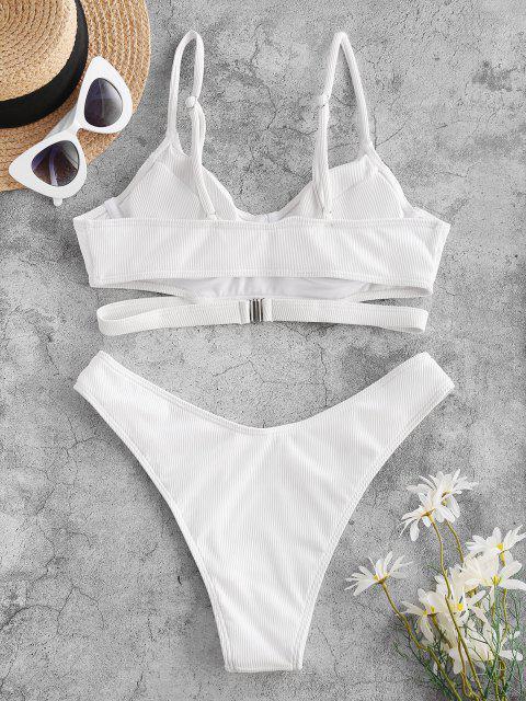 ZAFUL Gepolstertes Spaghetti Gurt Bikini Set mit Ausschnitt - Weiß XXL Mobile