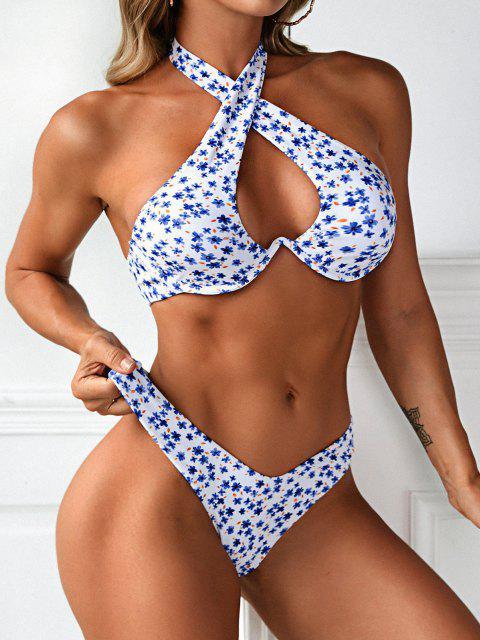 best ZAFUL Ditsy Floral High Cut Monowire Bikini Swimwear - BLUE M Mobile