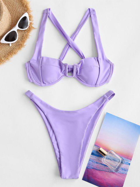 ZAFUL U Verdrahtete Kreuze und Quere Bikini Badebekleidung mit Hohem Bein - Helles Lila S Mobile