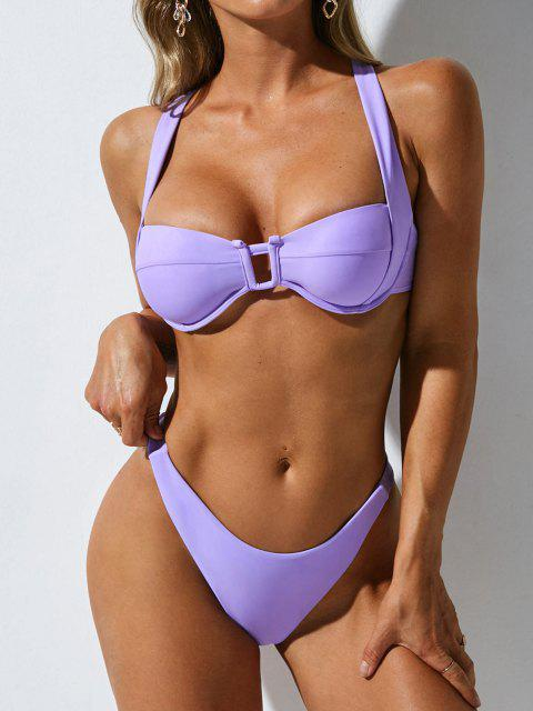 latest ZAFUL U Wired Criss Cross High Leg Bikini Swimwear - LIGHT PURPLE M Mobile