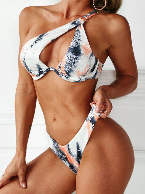 ZAFUL Böhmisches Paisley Druck Bikini Badebekleidung mit Hohem Schnitt - Multi S Mobile