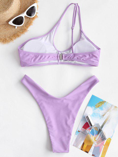 ZAFUL Maillot de Bain Bikini Coupe Haute à Une Epaule - Violet clair M Mobile