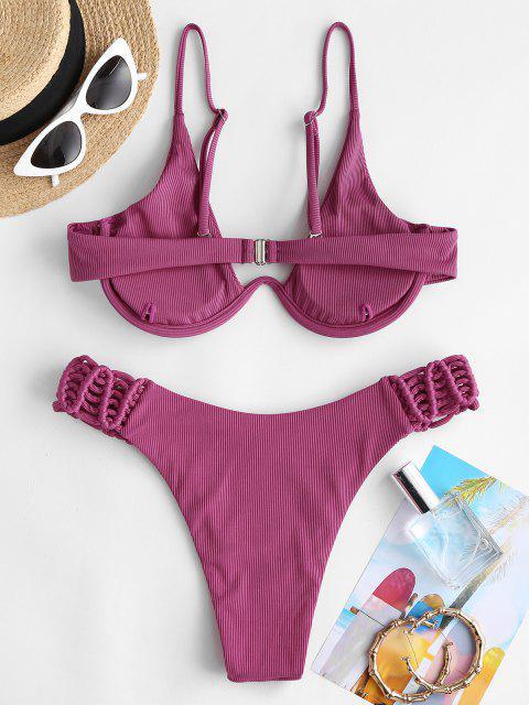 ZAFUL Costume da Bagno Bikini Incrociato e Surplice - Rosa chiaro S Mobile