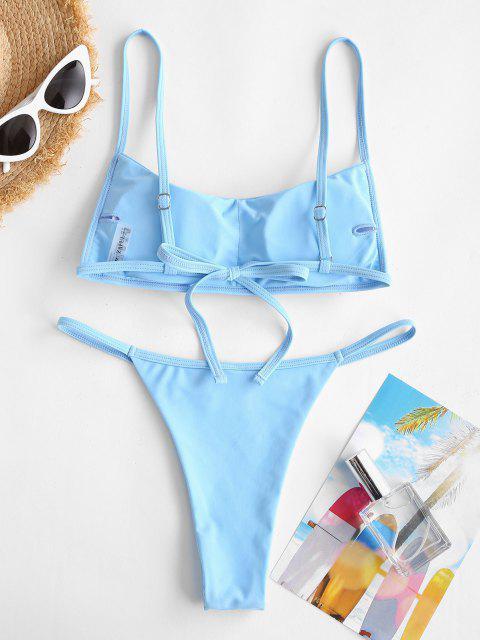 ZAFUL Maillot de Bain Bikini Noué Au Dos - Bleu clair S Mobile
