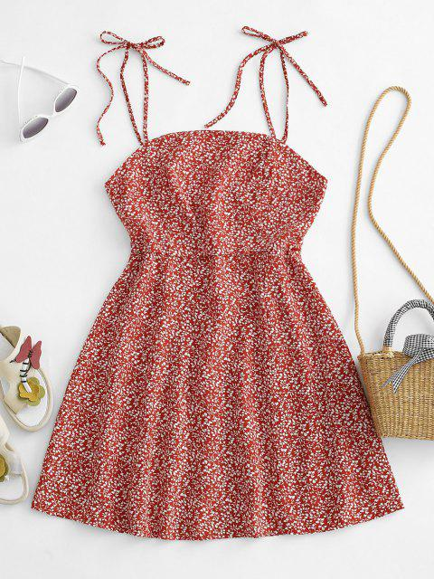 affordable Tiny Floral Tie Strap Flare Dress - RED XL Mobile