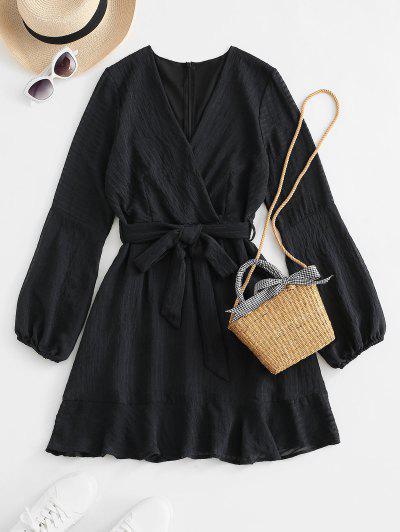 Ruffled Long Sleeve Belted Surplice Dress - Black S