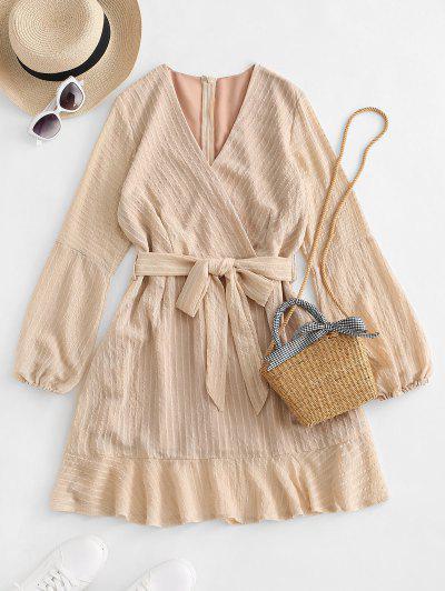 Ruffled Long Sleeve Belted Surplice Dress - Light Coffee S