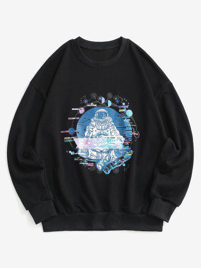 Planet Astronaut Graphik Hängender Schulter Sweatshirt - Schwarz 2xl