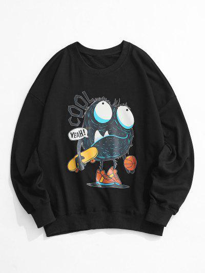 만화 편지 인쇄 드롭 어깨 스웨터 - 검정 에스