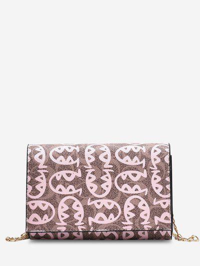 Allover Fish Pattern Flap Chain Mini Crossbody Bag - Pink
