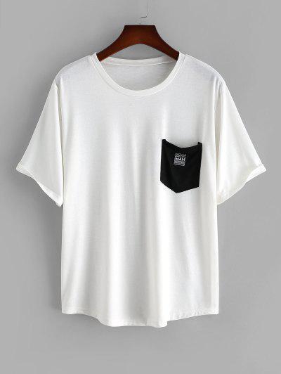 Camiseta De Manga Corta Con Parches De Bolsillo De Color Bloque - Blanco L