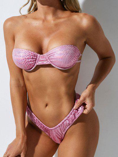 ZAFUL Metallic Snakeskin Multiway Cheeky Bikini Swimwear - Light Pink M