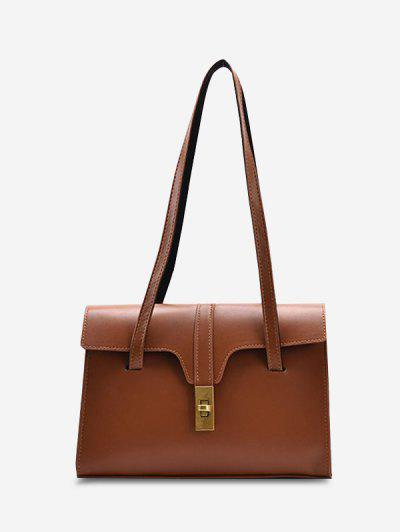 Solid Double Strap Smooth Large Shoulder Bag - Deep Brown