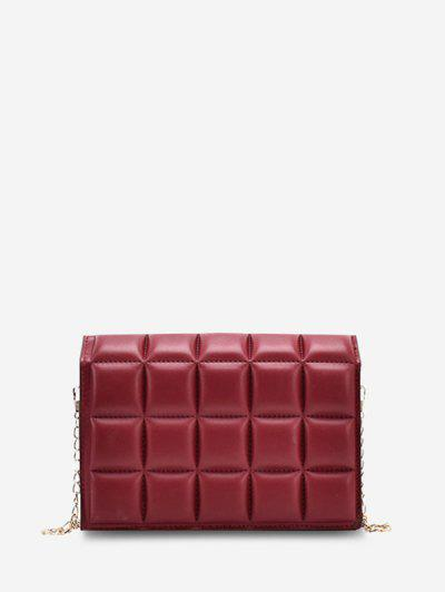 Soft Chocolate-Quilted Flap Solid Chain Crossbody Bag - Lava Red