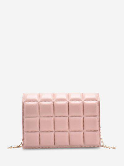 Soft Chocolate-Quilted Flap Solid Chain Crossbody Bag - Pink