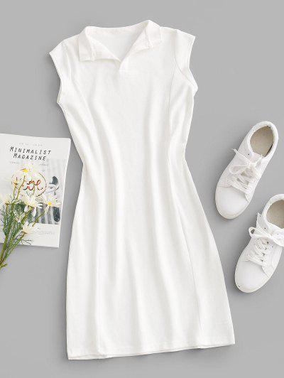 V-notch Cap Sleeve Sheath Jersey Dress - White L