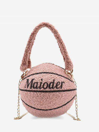 Fleece Basketball Shape Letter Print Double Handle Strap Chain Bag - Pink