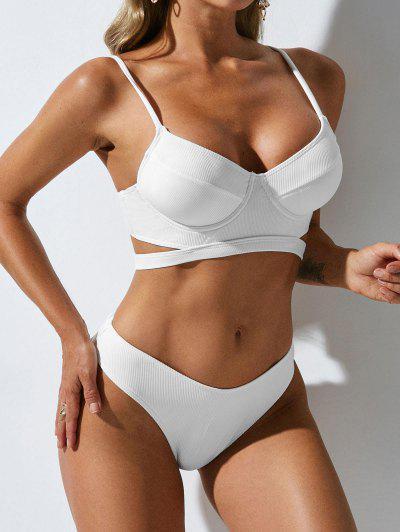 ZAFUL Spaghetti Strap Cut Out Padded Bikini Set - White S
