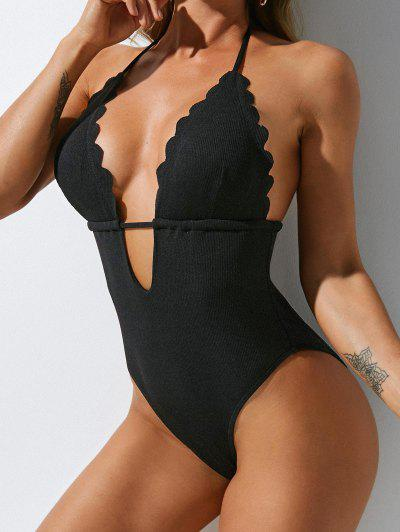 ZAFUL Ribbed Scalloped High Cut One-piece Swimsuit - Black M