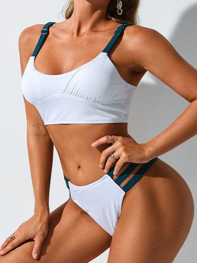 ZAFUL Ribbed Contrast Strap Ladder Cut High Leg Tankini Swimwear - White Xxl