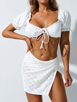 zaful ZAFUL Broderie Anglaise Ruffle Tie Front Three Piece Bikini Swimwear