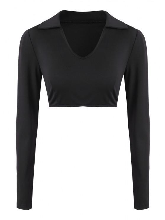 Collared Long Sleeve Crop Top - أسود L