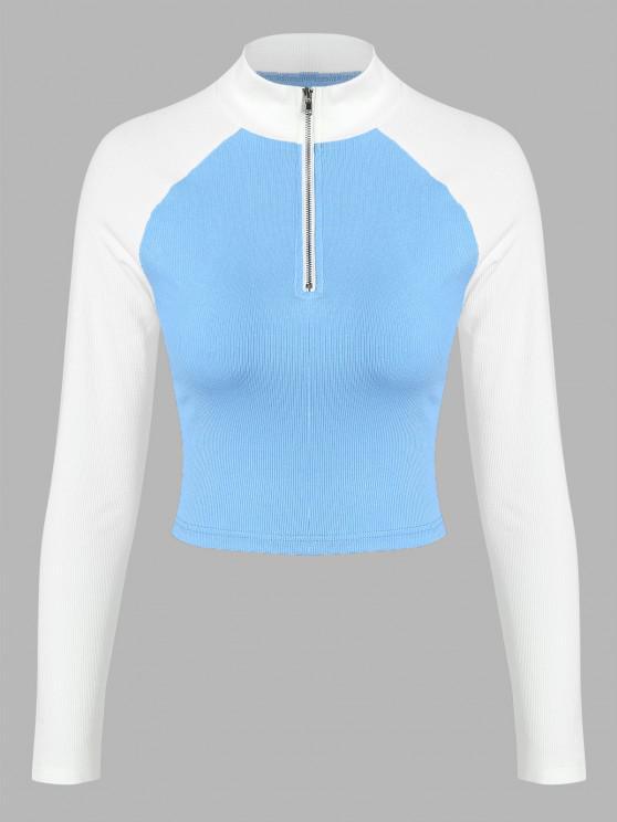 women ZAFUL Ribbed Colorblock Raglan Sleeve Half Zip T Shirt - MULTI-A XL