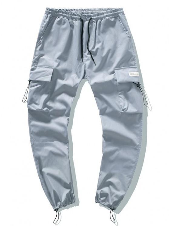 Drawstring Patched Cargo Pants - ازرق رمادي S