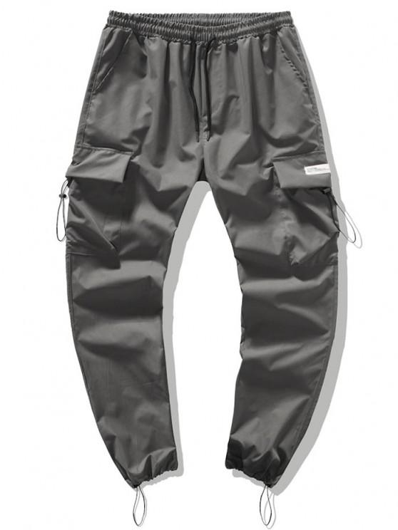 Drawstring Patched Cargo Pants - رمادي فاتح S