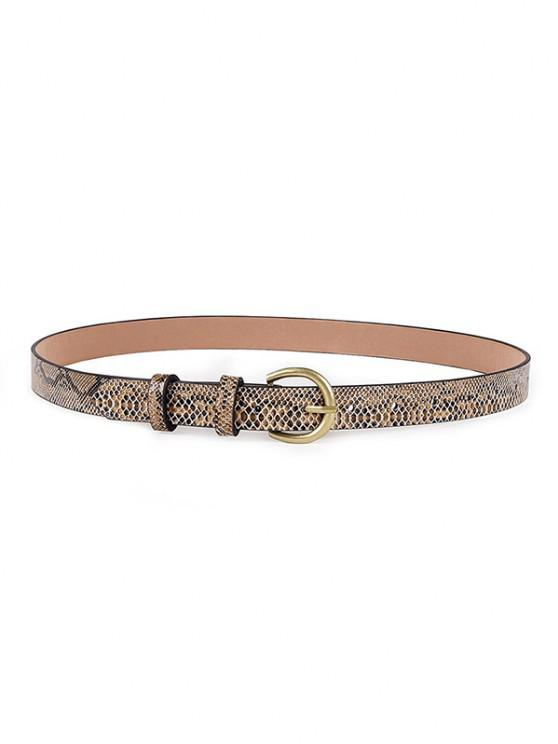 hot Snakeskin Patterned Buckle Belt - DARK GOLDENROD