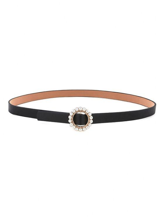Round Faux Pearl Inlaid Buckle Waist Belt - أسود