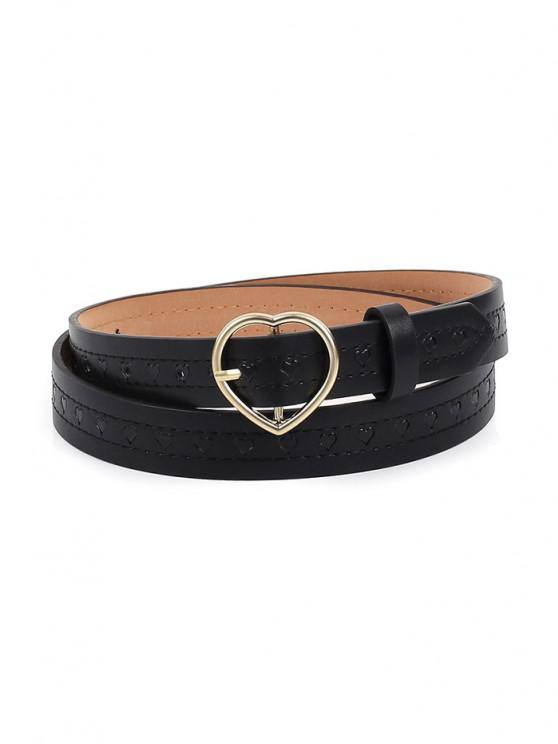 Embossed Heart Shaped Buckle Belt - أسود