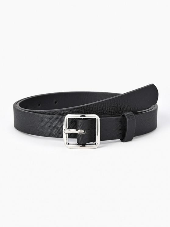 outfits Textured Minimalistic Square Buckle Belt - BLACK