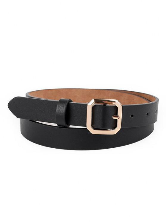 shops Metallic Octagon Embellished Solid Pin Buckle Belt - BLACK