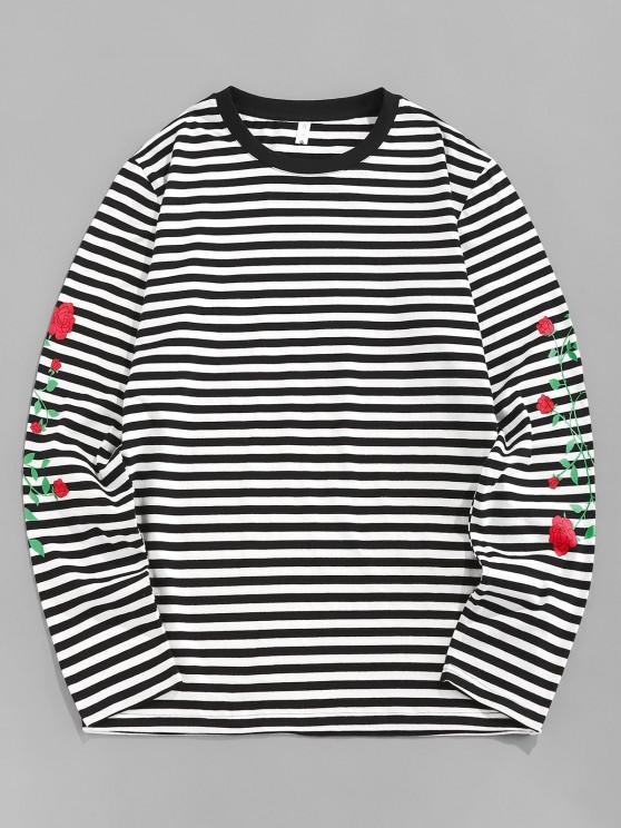 affordable ZAFUL Rose Flower Striped Print Long Sleeve T-shirt - BLACK L