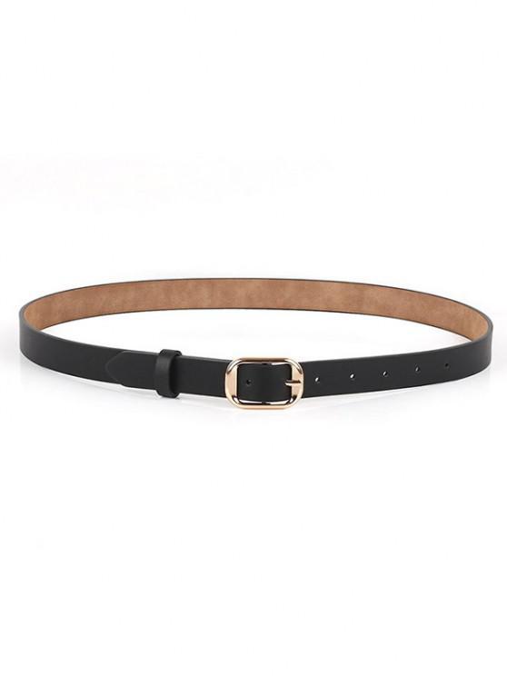 womens Polished Metallic Sleek Rectangle Buckle Belt - BLACK
