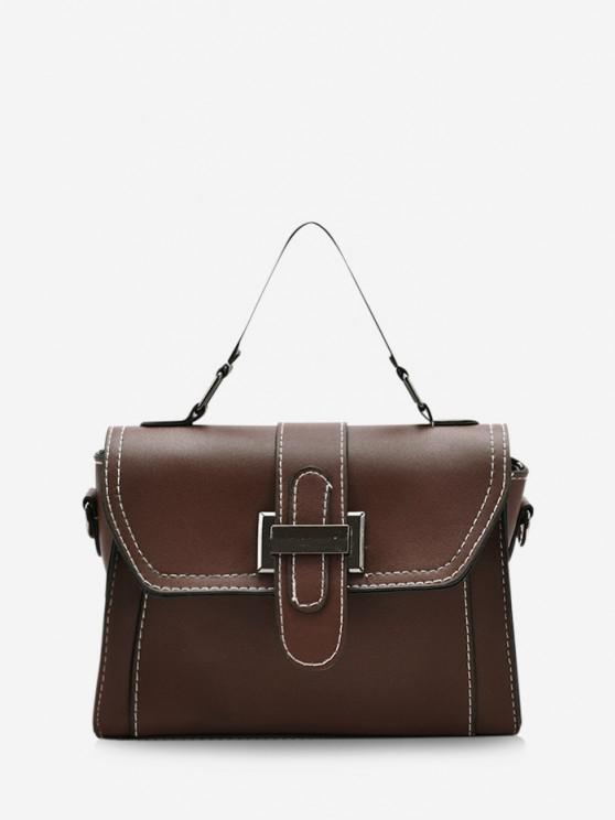 Retro Contrast Stitching Crossbody Bag - بنى